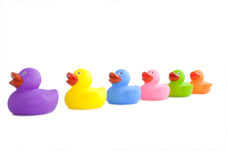 rubbery: colourfull rubber ducks isolated on a white background Stock Photo