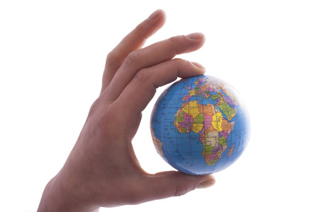 globe in hand: World globe hand holding isolated on a white background Stock Photo