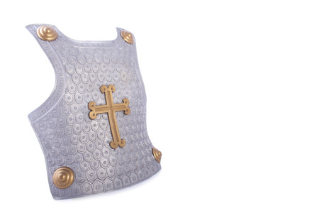 cross armed: Armor body shield with gold and silver isolated on white Stock Photo