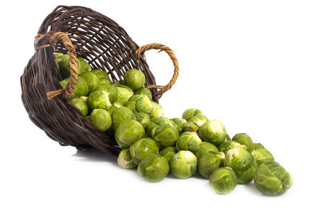Basket with sprouts isolated on a white background Stock Photo