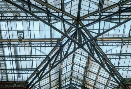 Metal and glass roof, looking upwards Stock Photo