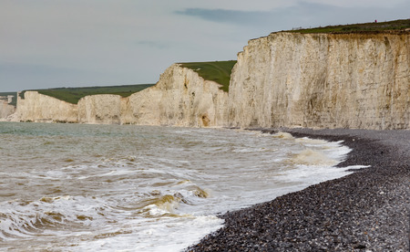 top seven: Seven Sisters, chalk cliffs, taken from the beach on a visit to Eastbourne in early summer. Stock Photo