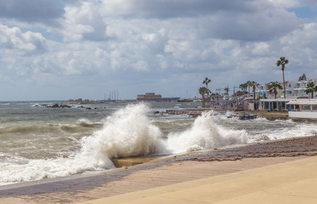 Paphos on a stormy day. Taken in late summer on a stormy day and visited Paphos whilst holidaying in Cyprus. Stock Photo
