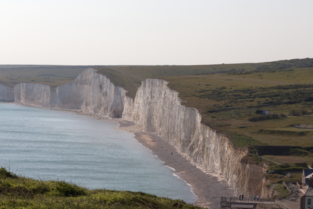top seven: Seven Sisters chalk cliffs, ariel shot. Taken on an early summers day of this panorama of the Seven Sisters chalk cliffs in Sussex.