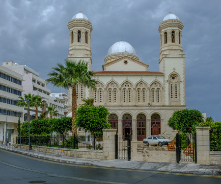 Agia Napa, beautiful church in the old town of Lemesos, Limassol, Cyprus.  A shot taken on a stormy afternoon in Spring.