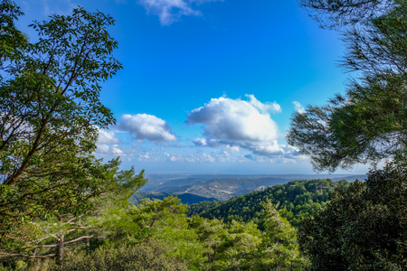 Troodos Mountain in Cyprus, a view from the top taken in springtime.