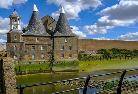 Three Mills and the River Lee in the Eastend of London at Bromely-by-Bow.