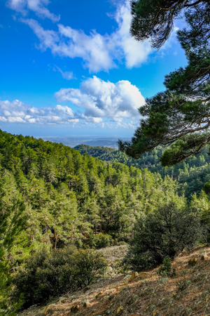 Troodos mountain , a view from the top.  Taken in spring on a bright sunny day.