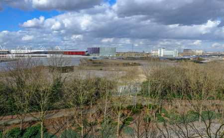 View from Pontoon Dock looking towards Excel, East London with waste land and develpment.