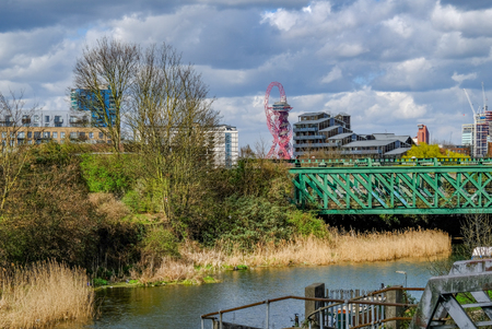 Looking towards Stratford from the River Lea on a bright Spring afternoon.