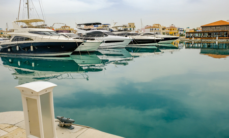 Speed boats moored in Limassol marina, Cyprus, in Springtime Stock Photo