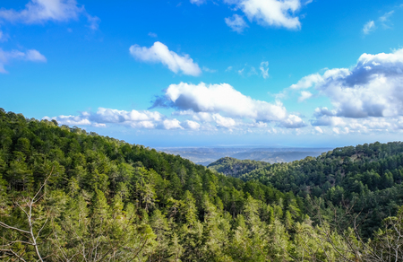 Troodos mountain top view in springtime, with beautiful sky.