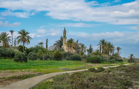 Hala Sultan Tekke Mosque and grounds, taken in Spring on a bright day.