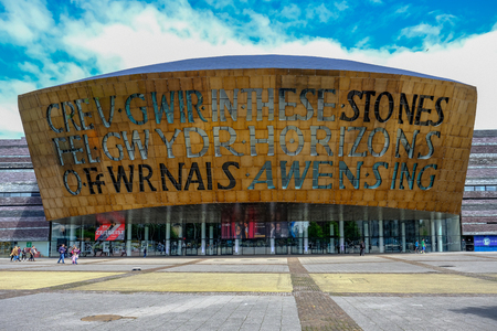 Cardiff Bay, Wales - May 20,2017: Millennium Centre for Arts, face-on view. Éditoriale