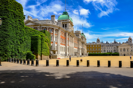 bollards: London, United Kingdom - July 21, 2017: Old Admiralty Building at Horseguards Parade.  A side view taken from St. James Park.