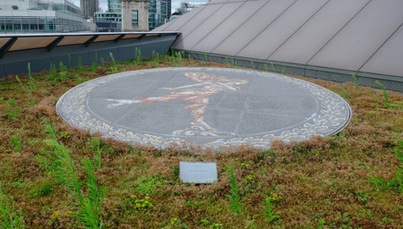 London, UK - August 3, 2017:  Mosaic of Ariel on the roof top of 1 New Change by Boris Anrep.