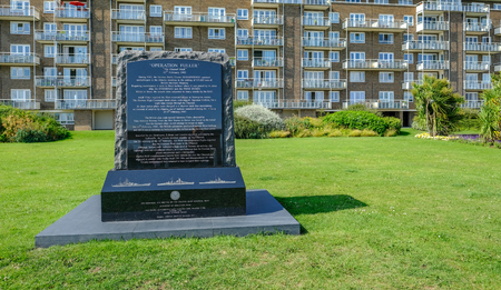 Dover, Kent, UK - August 17, 2017:Memorial to Operation Fuller at Dover sea front.  Second World War 2 commemoration.
