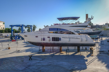 Limassol, Cyprus - September 29, 2017:  Cruise speed boat in dry dock. 에디토리얼