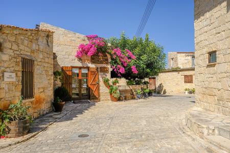 Anoyira, Cyprus - October 6, 2017: Carob factory museum exterior on bright sunny day.