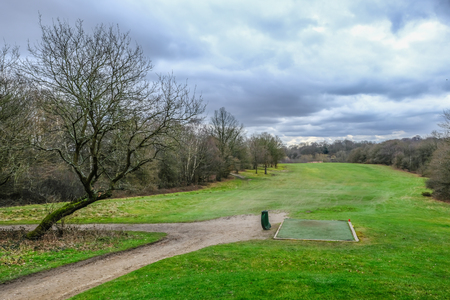 Looking down the golf course towards the hole from the tee off point.