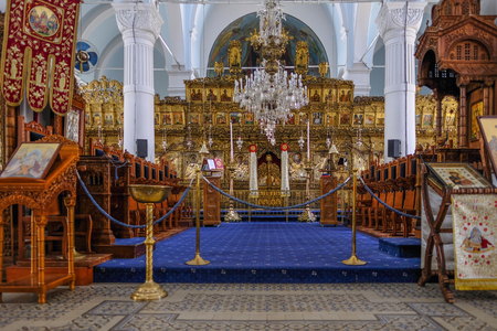 Nicosia, Cyprus - May 14, 2018: Exterior view of Panagia Faneromeni Church of Holy Mary, view of the central alter that has been prepared for Easter celebrations. Editorial