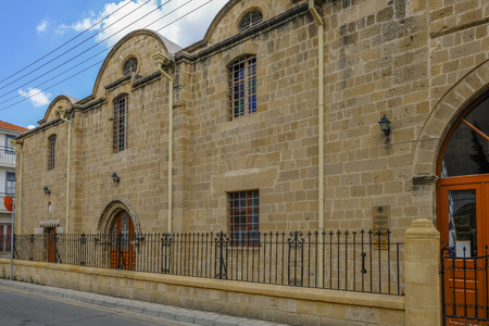 Nicosia, Cyprus - May 14, 2018: view of the Church of Archangel Michail Tripiotis which is withing the walls of Nicosia, on a bright bluy sky day.