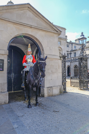 Whitehall, London, UK - June 8, 2018: Mounted Royal Guard on duty i Whitehall.  Summer daytime shot taken in the afternoon. Editöryel