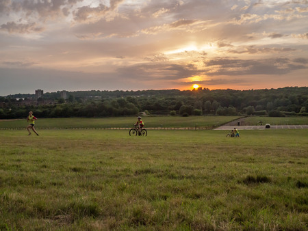 Hainault forest, Essex, UK - July 18,2014: sunset landscape on the open grassland where people are enjoying the late evening sun. Sun is just slipping towards the trees.