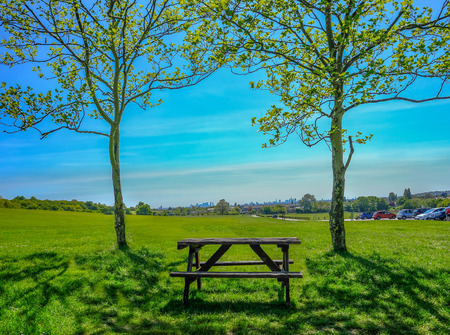 Single empty wooden picnic table set between two trees on grass looking towards the view of London. Stock fotó