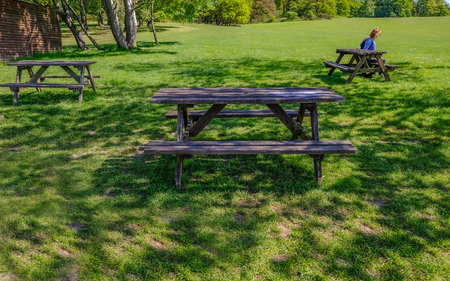 Wooden picnic tables on grass parkland in the shade.  Lady sitting at one of the tables. Stock fotó