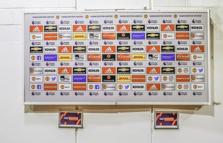 Old Trafford, Manchester, UK - January 20, 2019: Media interview area at the Manchester United football club. Sajtókép