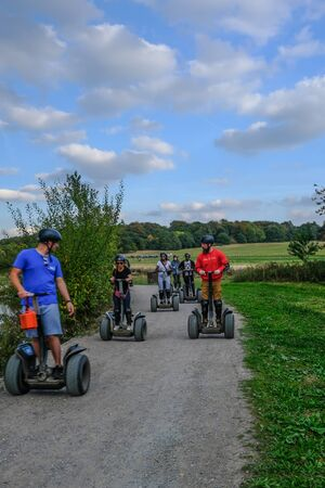 Hainault Country Park, Redbridge, Essex  UK - October 5, 2018: Group of people out for segway experience at Hainault forest.