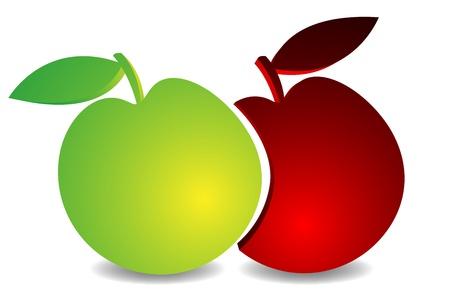 Apple Red Green Illustration