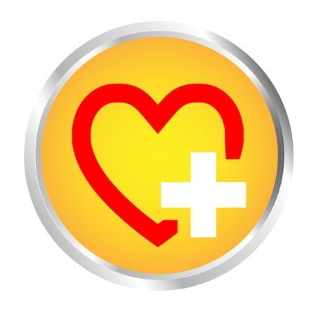 charity and relief work: Button Heart and Plus Illustration