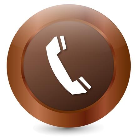 Button Telephone white Vector