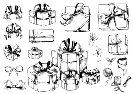 Gift box sketch. Collection of ribbon bows, present boxes and accessories. Hand drawn vector illustration.