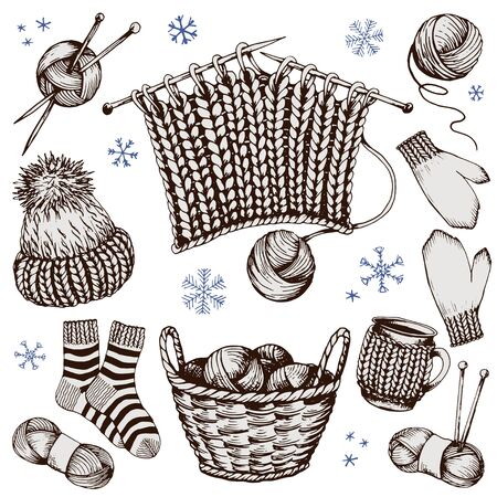 Knitted clothes and accessories. Sketched collection. Hand drawn vector illustration. Иллюстрация