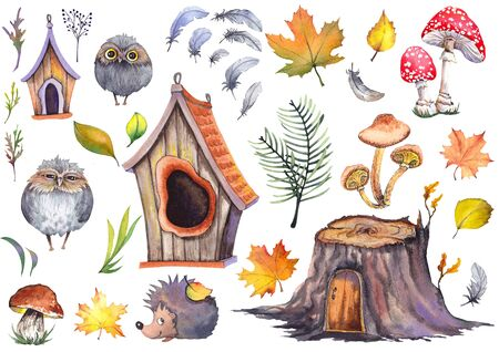 Forest set with cute owls, hedgehog, birdhouses, tree stump, mushrooms and colorful autumn leaves. Stockfoto