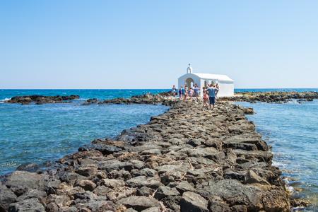 saint nicolas: The Chapel of Saint Nicholas (Agios Nikolaos) in the middle of the sea. Georgioupoli, Crete, Greece