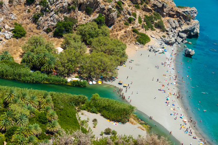 View of Preveli Beach, also known as Palm Beach, and lagoon from above. Crete, Greece