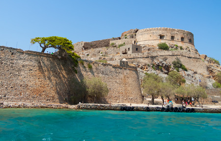 View of the island of Spinalonga (Kalydon) with the abandoned leper colony and the Venetian fortress from the sea