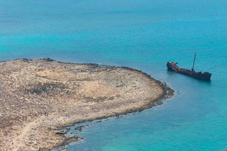 Ship wreck near Gramvousa Island. Crete, Greece