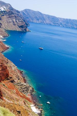 Panoramic view of the Santorini caldera cliffs from the Oia village on Santorini island, Greece Stock Photo