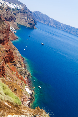 Panoramic view of Santorini caldera cliffs from the Oia village on Santorini island, Greece