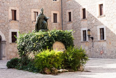 LLUC, MAJORCA, SPAIN - OCTOBER 18, 2017: Statue of bishop Pere Joan Campins i Barcelo at Santuari de Lluc Editorial