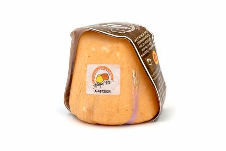 PALMA, SPAIN - NOVEMBER 24, 2017: Asturian cheese Afuegal pitu isolated on white background
