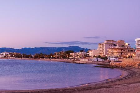 Panoramic view of Palma coastline at sunset. Palma, Majorca, Spain Stock Photo