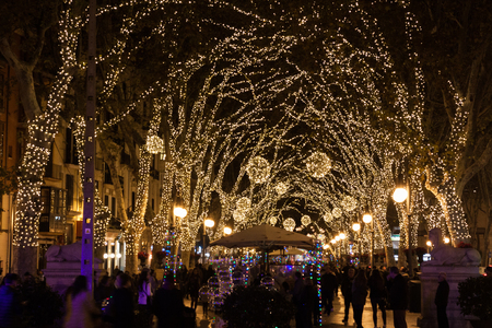 PALMA, MAJORCA, SPAIN - DECEMBER 9, 2017: Christmas lights on Passeig del Born
