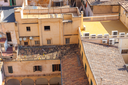 View over the rooftops of Palma de Mallorca from  the terrace of the Cathedral of Santa Maria of Palma, also known as La Seu. Palma, Majorca, Spain