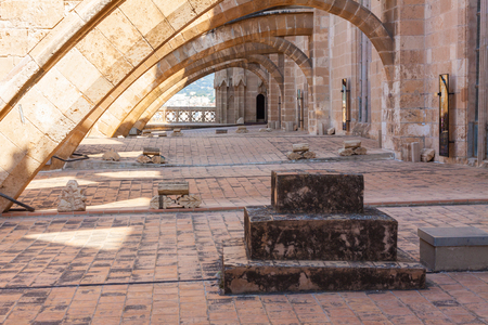 Terraces of the Cathedral of Santa Maria of Palma, also known as La Seu. Palma, Majorca, Spain Stock Photo - 105487513